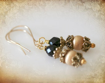 Gold & Black Deco Earrings - Repurposed Vintage Jewelry. 14K Gold Fill Earring Wires