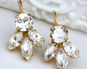 Sparkly Clear Crystals on Gold Leverback Earrings, Crystal Special Occasion Earrings