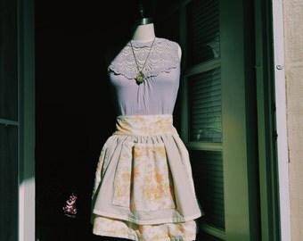 Yellow/Orange Floral Half-Apron Repurposed Vintage Fabric