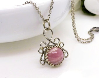 Rhodochrosite necklace, sterling silver dusky rose pink small pendant, handmade gemstone jewelry