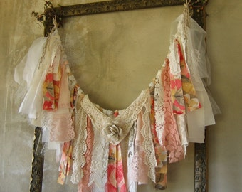 Fabric Garland Banner Shabby Chic Ragtie Fringe Frayed Rag Tattered French Country Handmade Wallhanging Wedding Shower Birthday Home Decor