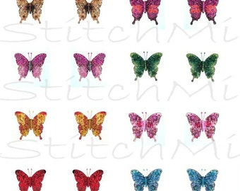 0.75 x 0.83 inch digital butterflies - beaded butterfly images - digital collage sheet - instant download - butterfly images for printing
