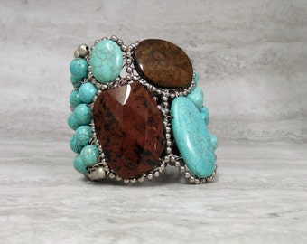 Turquoise & Brown Cuff Bracelet with Large Stones - Hand wired Color Block Cuffs by Sharona Nissan Sale 3820b