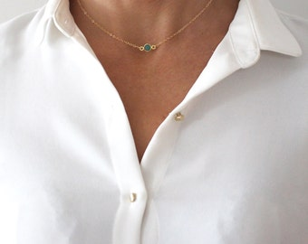 Green Onyx Choker necklace - delicate gold chain - short layering necklace