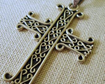 Silver Cross Necklace, Sterling Silver Cross, Large Cross, Unisex Cross
