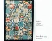 Paper Tile Collage, mosaic paper collage, original art, floral print art, cat print, ooak, home decor, office decor, 12x18 art, soft colors