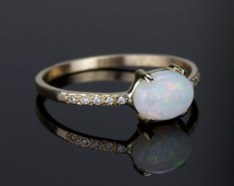 Opal and Diamond Ring - Delicate Natural AAA Opal 14k Ring - Solid 14k Gold with a Genuine Fiery Australian White Opal - Rose Yellow White