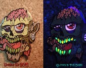 Worm Eating Willie the Zombie Hat Pin by Undead Ed Glows in the Dark