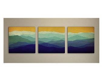 Mountain Memories Illustration TRIPTYCH  - Smoky / Green  Blue Ridge - Mountains  Stretched Canvas (3) Ready to Hang Wall Art