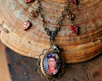Frida Kahlo Statement Necklace, Sugar Skull, Day of the Dead, Handmade Cameo, Antique Gold or Silver, Butterfly, Hummingbird, Cat, Monkey