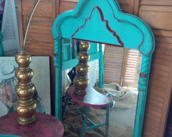 Mirror Vintage BoHo Bollywood Beach Large Mirror Poppy Cottage Painted Furniture Beach Cottage