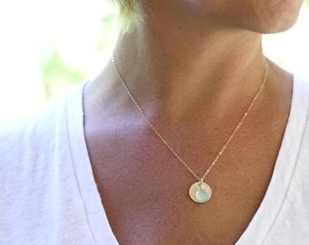 Gold Hammered Necklace, Mint, Gold Gemstone Necklace, Mint Chalcedony Necklace, layering necklace, Mint Stone Necklace, Gemstone Necklace,