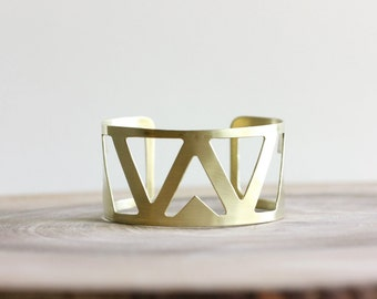 Gold Arrow Cuff Bracelet - wide raw brass cuff bracelet, geometric jewelry, southwestern jewelry, metalsmith jewelry, chevron bracelet