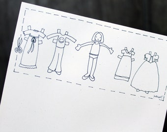 "Paper Doll 5.5 x 8.5"" 50 page notepad"