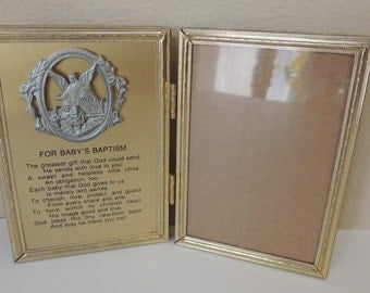 Bi-fold Baby's Baptism Gold Toned Metal Picture Frame. Guardian Angel Photo Frame. New Born Baby Hinged Photo Holder