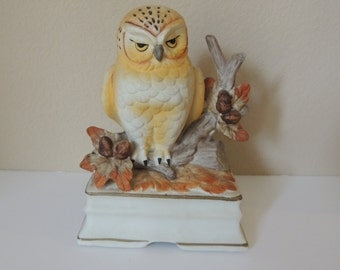 Yellow Sleepy Owl Porcelain Music Box. Towle Fine Porcelain Wind Up Music Box.