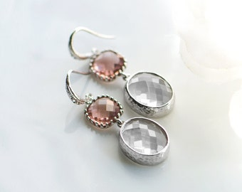 Burgundy earrings, Light burgundy earrings, Clear earrings, Crystal earrings, Clear crystal earrings