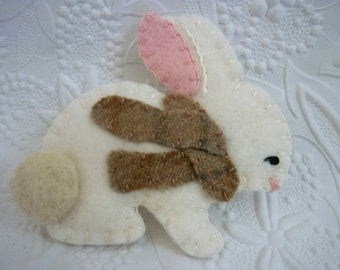 Felt Bunny Brooch Felted Wool Scarf Fall October Coat Pin Primitive Needle Felted