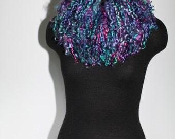 Handmade Felted Scarf Felt Collar Hand Dyed Fur Free Multicolor Wool Silk Felted Neck Warmer OOAK Felt Gift