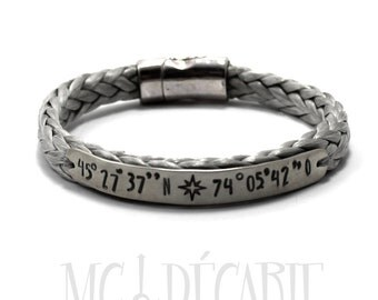 Spectra rope Personalized bracelet with a sterling silver plate, longitude latitude engraved, coordinate bracelet, id bracelet, medical