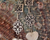 Heart Shape Fresh Water Pearl Filigree Earrings