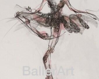 ballet art, art print, hand drawing, interior design, dancer, painting, Ballet in Pink, wall art, ballerina, artwork, fashion illustration