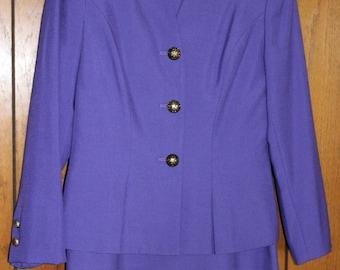 FREE SHIPPING Vintage Purple Lavender 2 piece Kasper Suit   Size 8