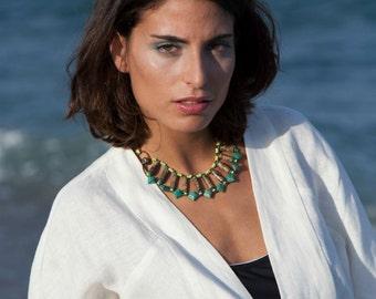 NECKLACE Egyptian Goddess Statement Necklace Boho Chic Turquoise jewelry