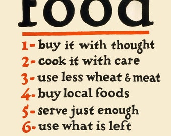 vintage poster food don't waste it sign illustration digital download