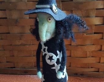 Needle felted Halloween witch art doll
