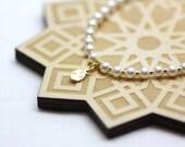 White Swarovski Pearl and Gold Wrist Tasbih   Miniature 33-bead Tasbih on Stretch Cord   Prayer Beads   Handmade by Azki