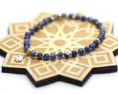 Sodalite Gemstones and Gold Wrist Tasbih   Miniature 33-bead Natural Stone Tasbih on Stretch Cord   Handmade by Azki