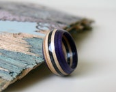 Handmade Purple and Black Maple Wood Recycled Skateboard Ring, Size 7