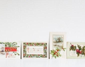 Antique Christmas Postcards, Mantel Decor, Holly and Mistletoe, Circa 1910