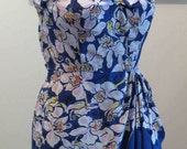 On Hold until May 2nd - Vintage 40's 50's Tropical Hawaiian Orchid Border Print Sarong Dress Tiki Novelty