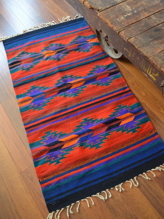 Vintage Mexican Hand Woven Rug Vintage Mexican Wool Carpet