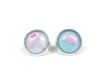 Umbrella Earrings, Blue and Pink, Rain Cloud, Mix and Match Earrings, Stud Earrings, Round Earrings, Post Earrings, Teen Tween Jewelry