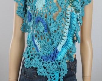 Boho Chic Gypsy Blue Turquoise Freeform Crochet  Scarf Shawl / Wearable Art / OOAK /  Bohemian Scarf
