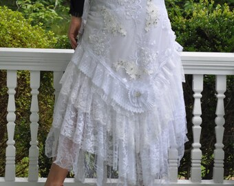 White Embroidered Lace/Tulle Wrap Ruffled Skirt, WRAP SKIRT, Steampunk, Bohemian, Gypsy, Belly Dance, Wedding, Bridesmaid, Size S - XL