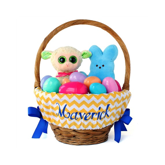 Personalized Easter Basket Liner, Yellow Chevron, Basket not included, Monogrammed Easter basket liner, Custom basket liner with name added