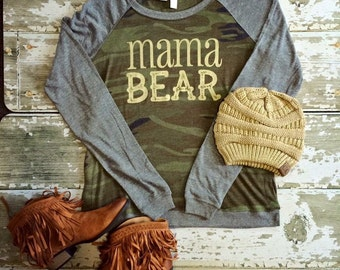 Mama Bear: Screen Printed Lighweight Slouch Camo Pullover Sweatshirt with Gray Sleeves- Small, Meduim, Large, X-Large
