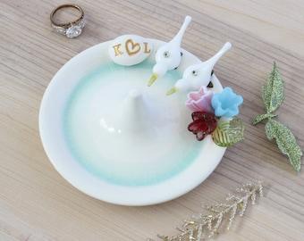 Personalized wedding ring holder, love birds ring dish, custom wedding engagement gift, glass flower bouquet