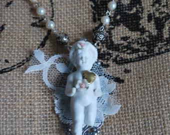 Frozen Charlotte art doll wearable art mixed media vintage lace silver pendant necklace