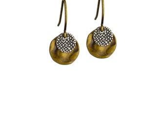 BABY DISC •Mixed Metal Earrings • Disc Earrings • Drop Earrings • Small Earrings • Lightweight Earrings • Mixed Metal Jewelry