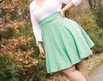 BLACK FRIDAY SAMPLE Plus Size Clothing Pink and Green Tweed Wrap Skirt ( 14 - 20 )