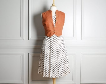 Dress Drop Waist Shift / White Polka Dot / Pleated Skirt Sleeveless / Fall Mod Chic / 60s Vintage / Medium M Large L