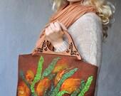 Orange Flowers Leaves Felted Bag Handbag Purse Felt Nunofelt Nuno felt Silk Ginger Eco OOAK brown green grass floral fantasy Fiber Art