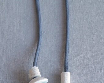 COLLECTED No6 long necklace artisan beads on long denim blue silk string, celadon glaze white porcelain ceramic necklace, artisan necklace