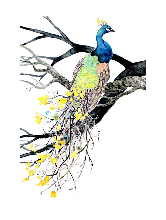 Autumn Plumage -giclee PRINT of original watercolor