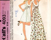 1970s Maxi or Mini Dress with Scoop Neck - Vintage Pattern McCall's 4093 - B38